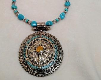 "Stunning 29"" Kingman Turquoise Necklace with Tibetan Pendant"