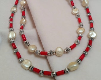 "Pearl and Coral 26"" Double-Strand Necklace"