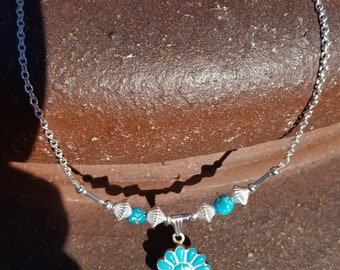 "18"" Castle Dome Mined Turquoise With Zuni Pendant"