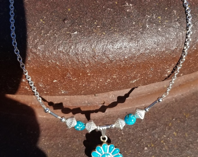 """18"""" Castle Dome Mined Turquoise With Zuni Pendant"""