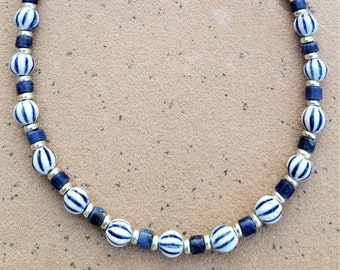 "18"" Blue Lapis And Porcelain Striped Beaded Necklace"