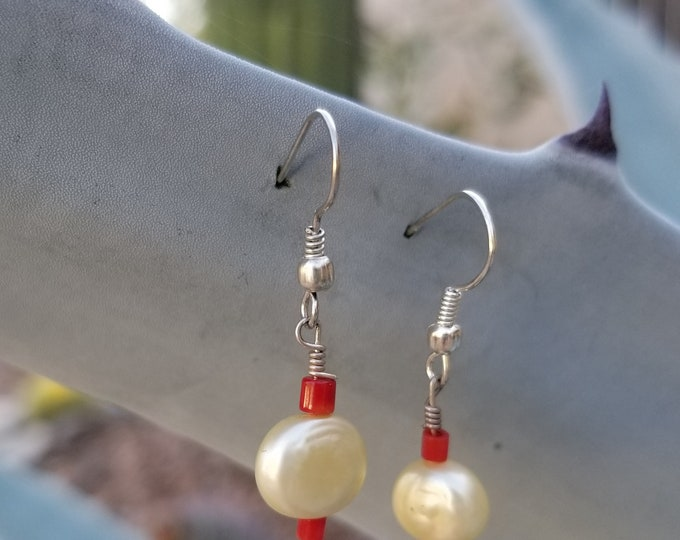 28-Pearl And Coral Earrings