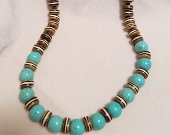 "23"" Howlite And Wooden Beaded Necklace"