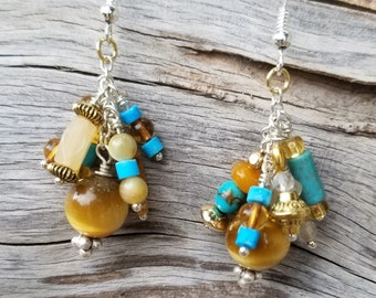 "1"" Drop Amber, Tiger Eye, Quartzite & Turquoise Earrings"