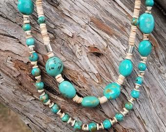 "24"" Kingman Turquoise & Heishi Bead 2-Strand Necklace"