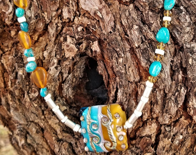 "25"" Sleeping Beauty Mined Turquoise And Amber Necklace"