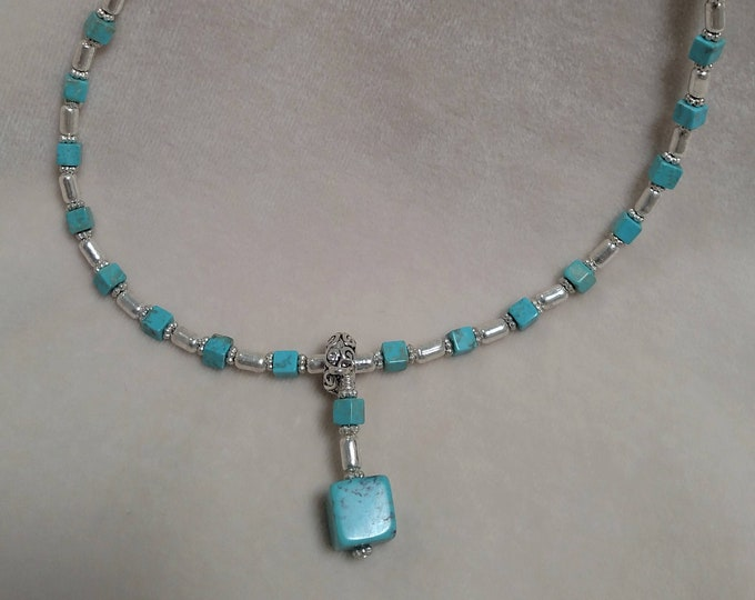 """Darling 19"""" Square Turquoise Necklace"""