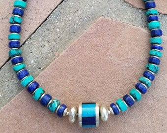 "19"" Nacozari Turquoise And Blue Lapis Choker"