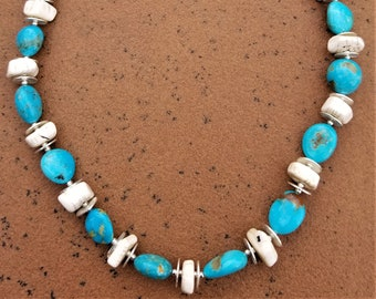 "23"" Kingman Turquoise And African Bone Necklace"