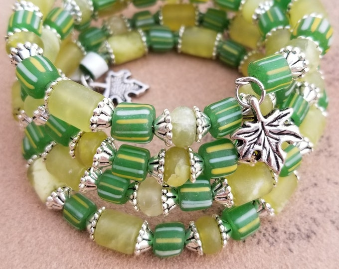 5-Strand Czech & Glass Beaded Bracelet