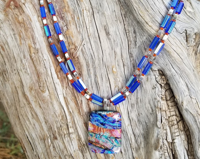 "26"" Blue Fused Glass Necklace"