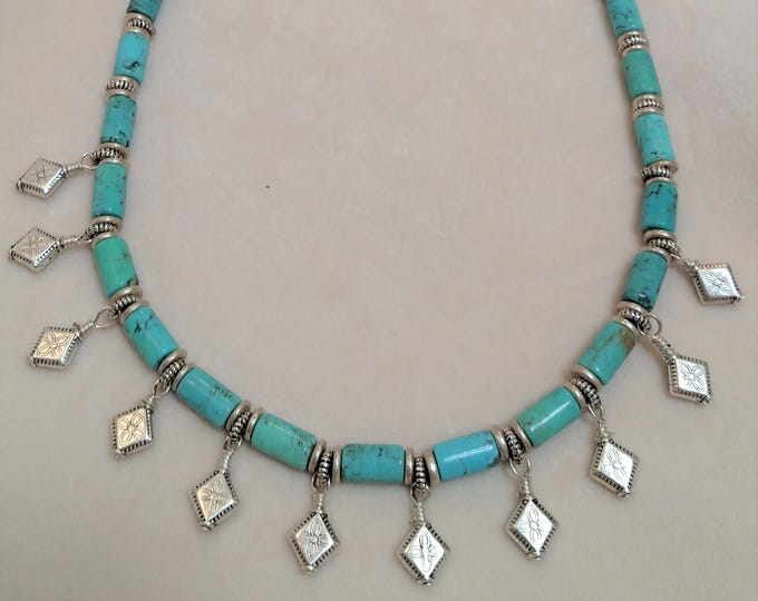 """Amazing 20"""" Turquoise Dangly Necklace"""