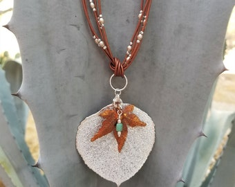 Leaf And Leather Go Together Necklace