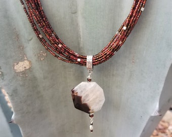 "26"" Copper Seed Beaded Necklace"