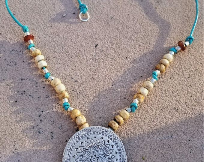 """19"""" Leather and Beaded Necklace"""