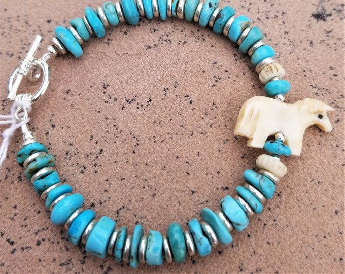 "8"" Royal Beauty Turquoise And Pony Bracelet"