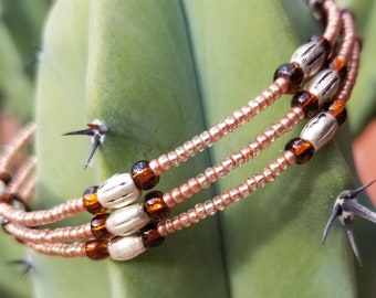 Copper Colored 3-Strand Beaded Bracelet