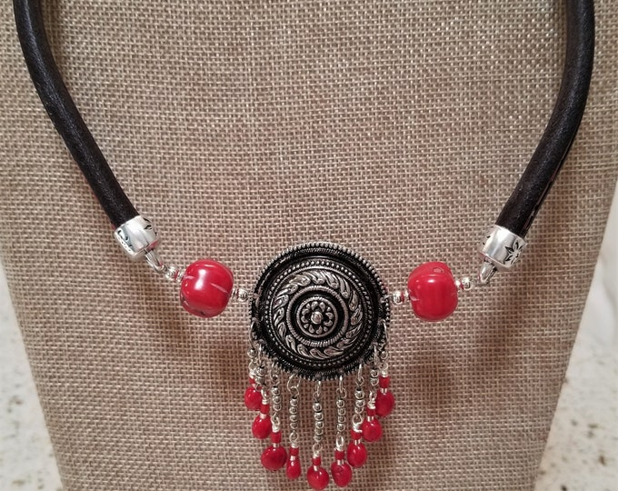 """21"""" Leather & Red Coral Concho Necklace"""