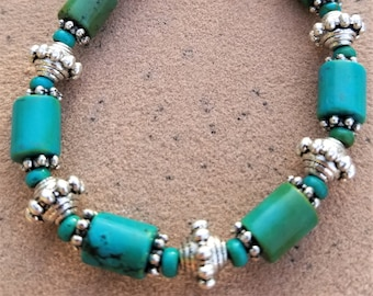"8"" Cerillos Turquoise and Silver Bracelet"