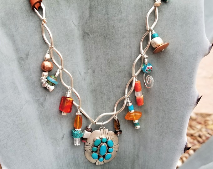 "30"" Turquoise, Leather & Charm Necklace"