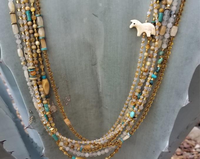 "30"" Multi-Strand Amber, Turquoise, Quartz & Tiger Eye Necklace"