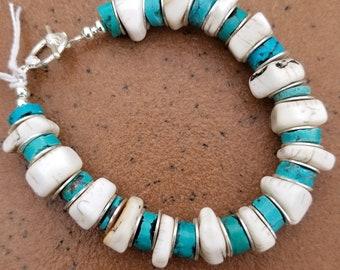 "8"" Nacozari Turquoise And African Bone Bracelet"