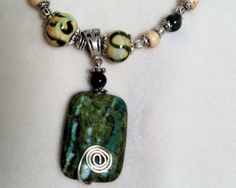 Green Marble Necklace with Porcelain Beads 36""