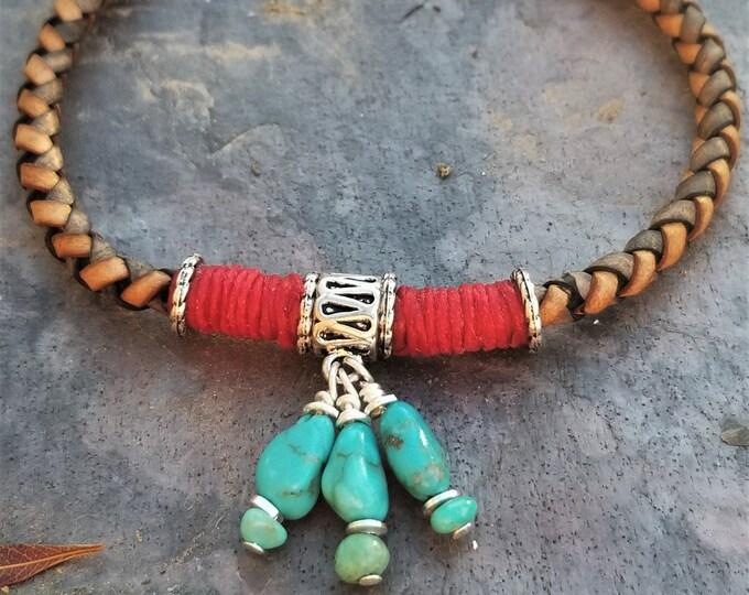 "8"" Sleeping Beauty Turquoise & Leather Bracelet"