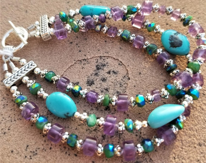 """8"""" Turquoise And Amethyst 3-Strand Bracelet"""