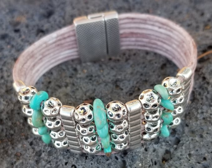 8-Strand Leather & Campo Frio Turquoise Woven Bracelet