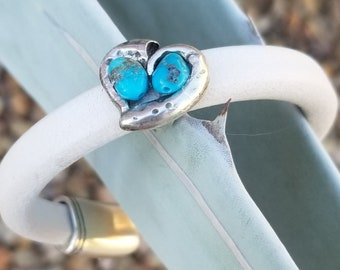 Kingman Turquoise And White Leather Heart Bracelet