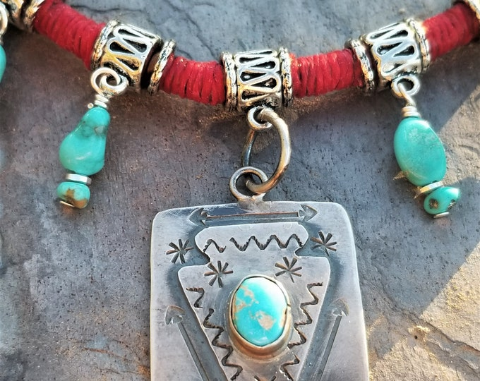 "18"" Sleeping Beauty Turquoise & Leather Choker"