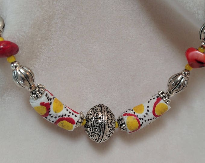 """32"""" Necklace with Coral and Hand-Painted African Bone Beads"""