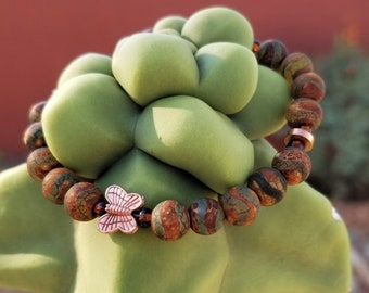 """7-1/2"""" Tibetan Agate & Copper Butterfly Bracelet"""