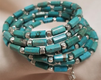 6 Ringed Royal Beauty Turquoise Bracelet
