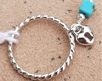 Sterling Silver Ring With Kingman Turquoise And Silver Charm