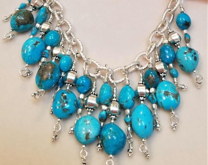 """18"""" Kingman Turquoise Fringe Necklace"""