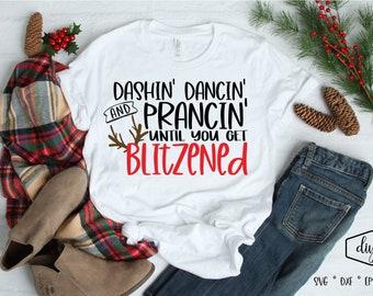 Dashin/' Dancin/' And Prancin Until I Get Blitzen Christmas Gift Aluminum Novelty Vanity Metal License Plate 6  x 12
