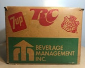 Vintage 1970 39 s RC Cola 7UP Canada Dry - Plastic Coated Cardboard Shipping Crate