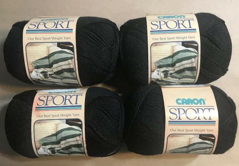 Vintage CARON Sport Yarn Lot of 4 Skeins Black 100/% Acrylic 1621