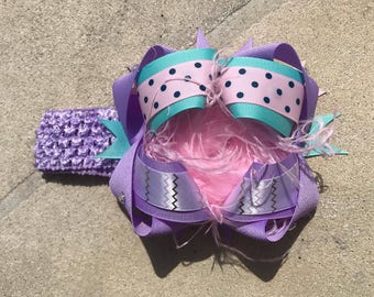 Lavender Teal Pink Stacked Hair Bow
