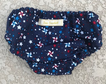Fourth ofJuly Stars and Pinwheel Diaper Cover