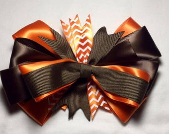 Big Brown and Orange Stacked Fall Hair Bow