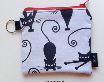 Cat-Themed Fabric CATch-all Zippered Coin Purse