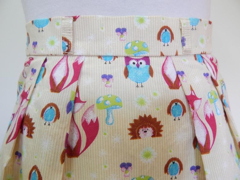 Forest Animals Skirt Fox Lover Gift Owl Lover Gift Owl Print Skirt Hedgehog Lover Fox Print Skirt A Line Skirt Forest Animals Lover