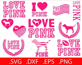 4a401ff758f Love Pink SVG File - Love Pink Clip Art - Love Pink SVG - Love Pink VS - Love  Pink Printable - Love Pink Decal Dog