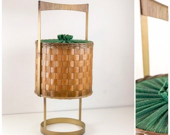 Antiques Hard-Working 1970s Mid-century Sewing Table Utensilo Basket Box Rockabilly 6