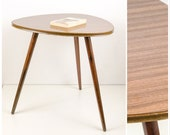 RESERVED FOR DIRK Table Vintage Side Table Mid-Century coffee table with resopal surface in wood look