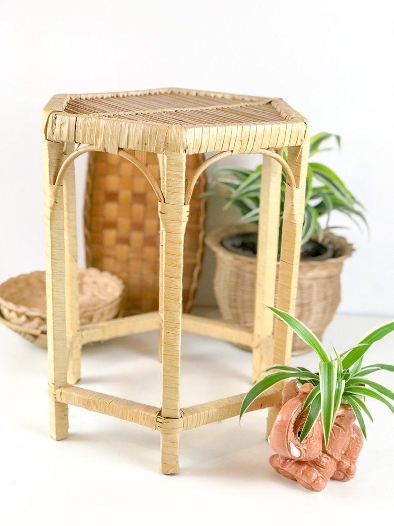 Small Table bohemian Side Table Rattan Flower Hocker Vintage Plant stand Plant Table boho
