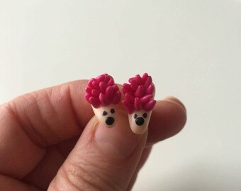 Fuchsia polymer clay Hedgehog Stud Earrings
